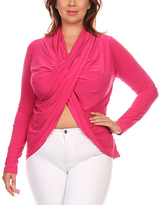 Hot Pink Belly-Baring Surplice Top - Plus