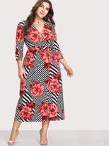 Shein Abstract Stripe Florals Wrap Dress