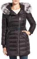 French Connection Women's Quilted Coat With Faux Fur Trim Hood