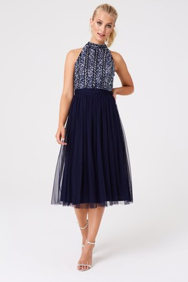 Iclothing Little Mistress Bridesmaid Charli Navy Hand Embellished Midi Dress