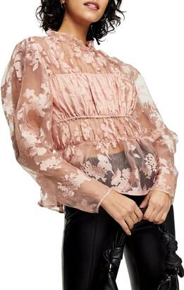 Topshop Floral Sheer Organza Blouse