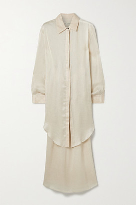 Mara Hoffman Agata Plisse-tencel Luxe Crepon Shirt And Skirt Set - Ecru