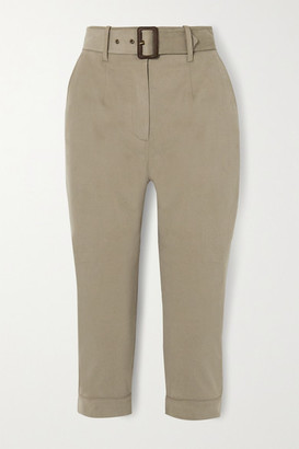 JAMES PURDEY & SONS Belted Cropped Brushed Cotton-blend Tapered Pants - Beige