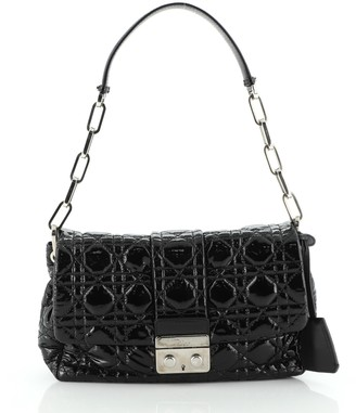 Christian Dior New Lock Flap Bag Cannage Quilt Patent Small