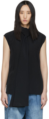 Tibi Navy Silk Tie Neck Sleeveless Blouse