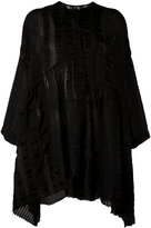 Uma Wang - striped collarless tunic - women - Silk/Linen/Flax/Polyamide - S