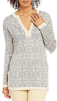 Sigrid Olsen Signature V-Neck Printed Jacquard Tunic Sweater