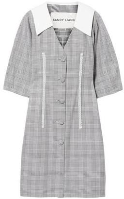 Sandy Liang Leo Lace-trimmed Plaid Cotton And Crepe De Chine Dress