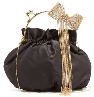 Rosantica Barbie Crystal-bow Shoulder-chain Pouch - Black Multi