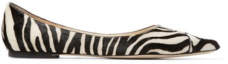 Jimmy Choo LOVE FLAT Black and White Animal Print Pony Mix Pointed Flats with Neon Orange Trim