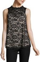BY AND BY by&by Sleeveless Mock Neck Lace Blouse-Juniors