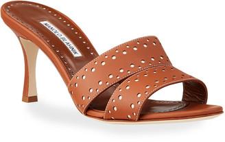 Manolo Blahnik Jacobro Cutout Leather Mid-Heel Sandals