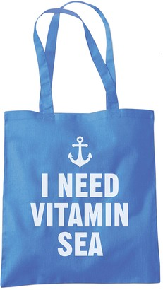 Hotscamp I Need Vitamin Sea - Holiday Beach - Tote Shopper Fashion Bag - Cornflower Blue