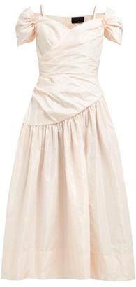 Simone Rocha Sweetheart Neckline Taffeta Midi Dress - Womens - Light Pink