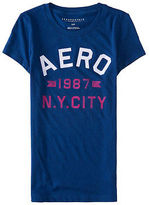 Aeropostale Womens Aero 1987 Ny City Flocked Logo Graphic T Shirt