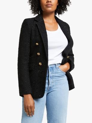 Helene For Denim Wardrobe Mock Double Breasted Jacket, Black Glam