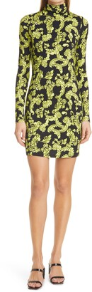 Alice + Olivia Delora Scrollwork Print Long Sleeve Dress