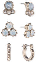 Marchesa Gold-Tone 3-Pc. Set Crystal & Blue Stone Earrings