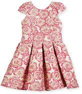 Zoe Pleated Metallic Rose Brocade Dress, Pink, Size 4-6X