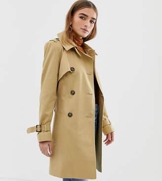 Asos DESIGN Petite trench coat-Stone
