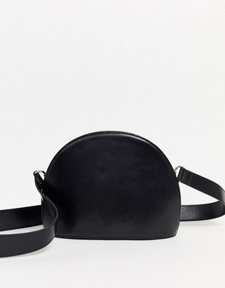 Asos Design DESIGN LEATHER large half moon cross body bag