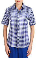 Allison Daley Petites Roll-Tab Sleeve Gingham Print Button Front Shirt