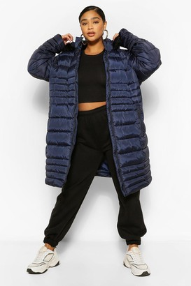 boohoo Plus Longline Faux Fur Hooded Puffer Coat