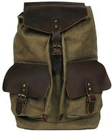 Black Rivet Adult Canvas Backpack W/ Leather Accents Green