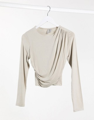 BEIGE ASOS DESIGN drape wrap top in