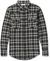 Saint Laurent Slim-Fit Checked Wool-Blend Flannel Western Shirt