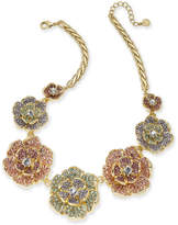 """Charter Club Gold-Tone Multicolor Crystal Flower Statement Necklace, 17"""" + 2"""" extender, Created for Macy's"""