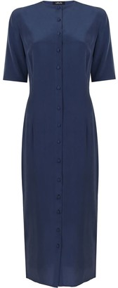 Urun Button Down Dress In Navy Blue