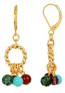 2028 Women's 14K Gold Dipped Hoop Multi Color Drop Beads Earring