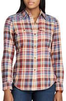 Chaps Petite Plaid Cotton Button-Down Workshirt