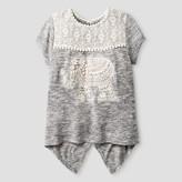 Miss Chievous Girls' Short Sleeve Babydoll Top with Crochet Pom Pom Trim & Elephant Applique - Grey
