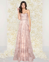 Mac Duggal Couture - 50420D Strapless Sheer Floral Lace Evening Gown