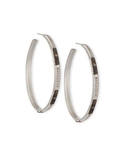 Armenta New World Square-Motif Diamond Hoop Earrings