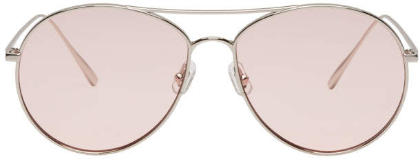 Gentle Monster Silver and Pink Ranny Ring Aviator Sunglasses