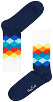 Happy Socks Faded Diamond Socks, One Size, Navy/white