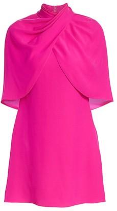 Brandon Maxwell Wrapped Cape Silk Mini Dress