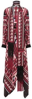 Amanda Wakeley Draped Fringe-trimmed Silk-twill Dress