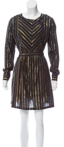 Maison Scotch Metallic-Accented Knee-Length Dress w/ Tags