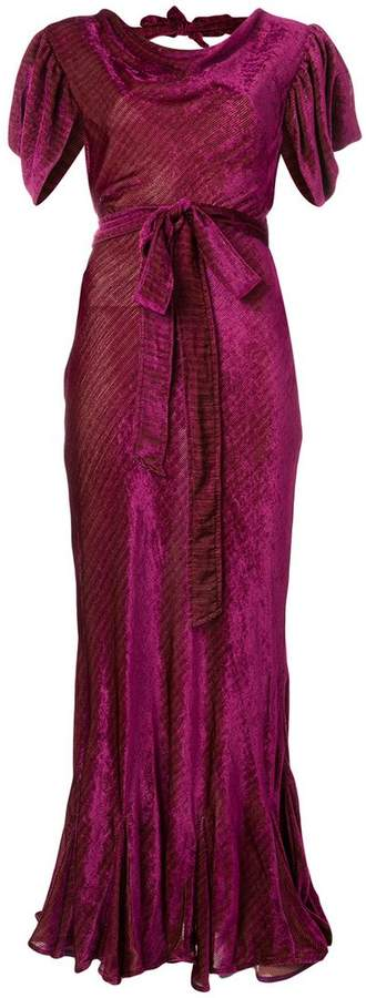ATTICO belted devoré gown