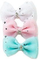 Copper Key 3-Pack Chiffon Rhinestone Bow Set