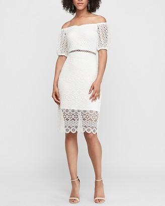Express Off The Shoulder Crochet Lace Midi Dress