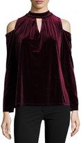 Neiman Marcus Cold-Shoulder Velvet Top