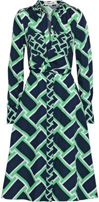 Diane von Furstenberg Jeri Twist-front Printed Cotton Shirt Dress