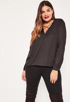 Missguided Plus Size Black Harness Detail Blouse