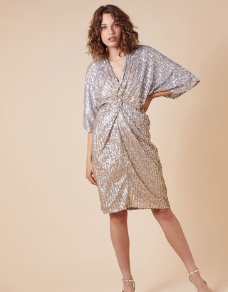 Monsoon Samba Sequin-Embellished Dress with Twist Front Gold