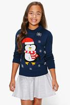 Boohoo Girls Penguin Christmas Jumper